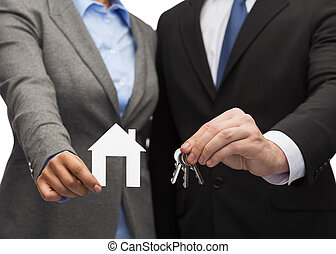 casa, bianco, uomo affari, presa a terra, donna d'affari
