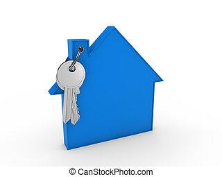 casa blu, chiave, 3d