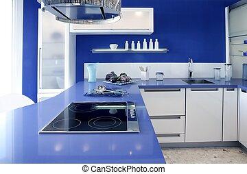 casa blu, moderno, disegno, interno, bianco, cucina