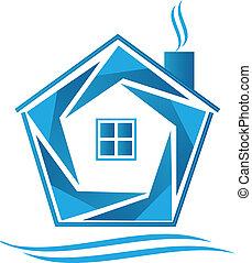 casa blu, vettore, icona, logotipo