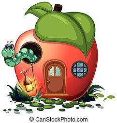 casa, bruco, dentro, mela