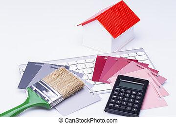 casa, calcolatore, carda colore, tastiera, spazzola, modello