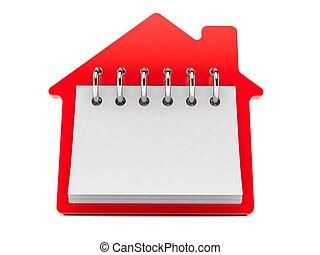 casa, calendario, concetto