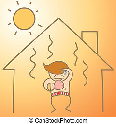 casa, calore, carattere, cartone animato, uomo