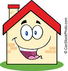 casa, carattere, cartone animato, felice