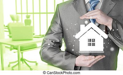 casa, concept., assicurazione