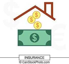 casa, concetto, assicurazione, illustrazione