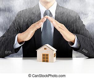 casa, concetto, assicurazione, pioggia, sotto