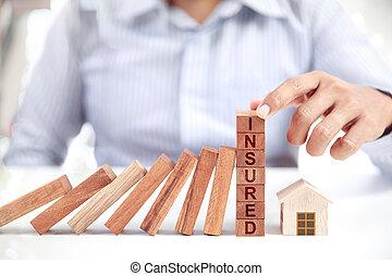 casa, concetto, assicurazione, uomo affari, modello