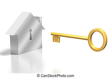 casa, concetto, key/, 3d