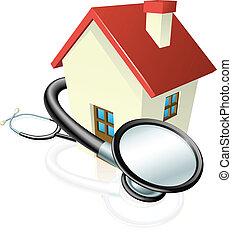 casa, concetto, stetoscopio