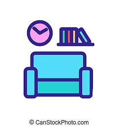 casa, contorno, interno, vector., illustrazione, simbolo, isolato, icona
