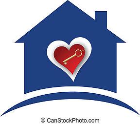 casa, cuore, chiave, oro, logotipo