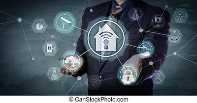 casa, direttore, attivare, sicurezza, automazione