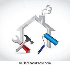 casa, disegno, illustrazione, attrezzi