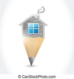 casa, disegno, illustrazione, matita