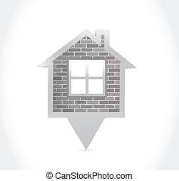 casa, disegno, illustrazione, puntatore