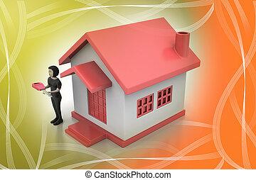 casa, donne, chiave, 3d