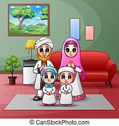 casa, famiglia, illustrazione, felice, musulmano