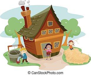 casa fattoria, bambini, stickman