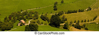 casa fattoria, vecchio, verde