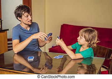 casa, felice, gioco, gioco cartolina, famiglia