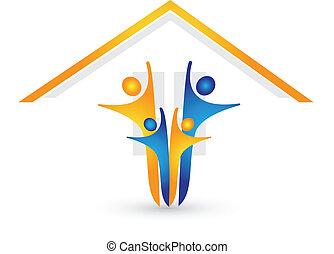 casa, felice, logotipo, famiglia, vettore
