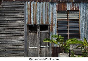 casa, finestra., vecchio, parete, legno, finestra