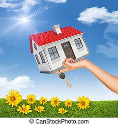 casa, fiori, mano, chiave, womans