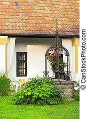 casa, fountain., giardino, europeo, rurale