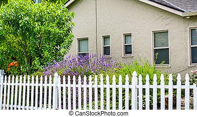 casa, francisco, picchetto, montagna, baia, san, vecchio, zona, fioritura, vista, california, giardino, recinto