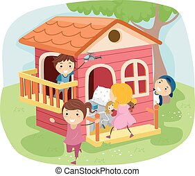 casa, gioco, bambini, stickman
