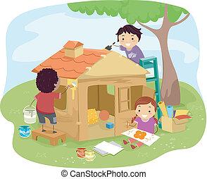 casa, gioco, bambini