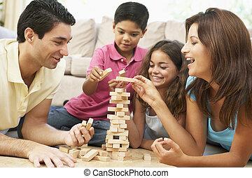 casa, gioco, insieme, famiglia, gioco