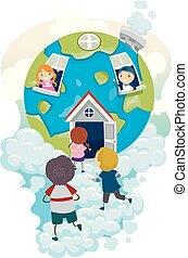 casa, globo, bambini, stickman, illustrazione