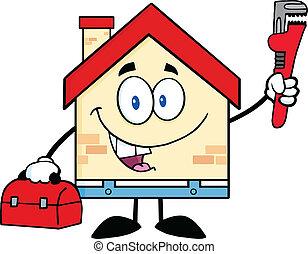casa, idraulico, strappare