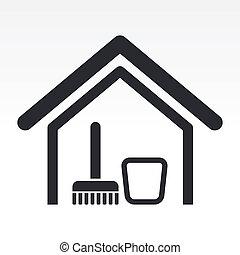 casa, illustrazione, isolato, singolo, icona, vettore, pulito
