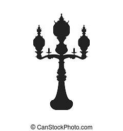 casa, lampada, tradizionale, icon., parco, vettore, luce, ponte, casa, graphi