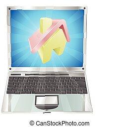 casa, laptop, concetto, icona