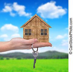 casa legno, chiave, mano