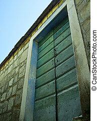 casa legno, pietra, vecchio, porta