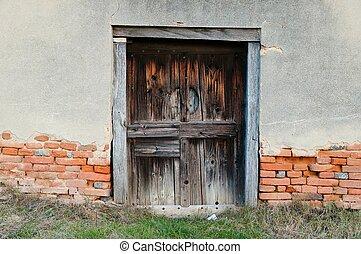 casa legno, vecchio, abbandonato, porta