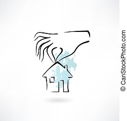 casa, mani, presa a terra, icona