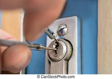 casa, manico porta, lockpicker, quotazione