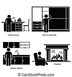 casa, mobilia, built-in, icone