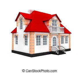 casa, modello, isolato, 3d