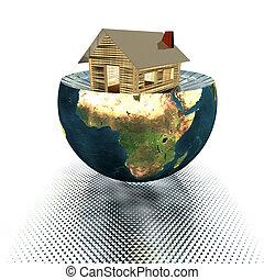 casa, modello, terra, mezzo