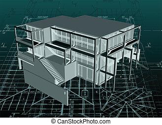 casa, modello, vettore, architettura, blueprint.