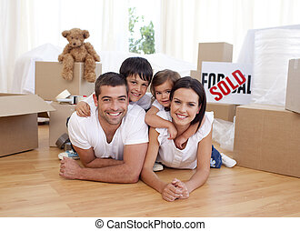casa, nuovo, acquisto, secondo, famiglia, felice