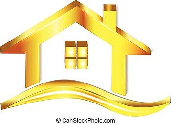 casa, oro, logotipo